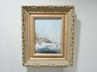 Vintage Oil Painting On Board, Winter Scene, Signed