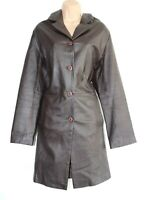 Women's Vintage ZIGGY'S Fitted Brown 100% Leather Jacket Trench Coat 44 UK18