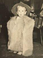 Vintage Little Boy In Fur Coat  Snapshot D3