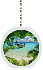 Tropical Beach Palm Tree Solid CERAMIC Ceiling Fan Light Lamp Pull