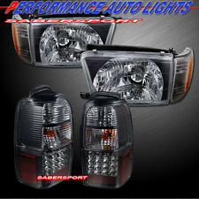 "1996-1998 TOYOTA 4RUNNER BLACK HEADLIGHTS CORNER 4PCS + ""L.E.D."" TAIL LIGHTS LED"