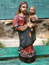 Vierge à l'Enfant Bois Polychrome 18 ème Scupture Antique Madonna and Child