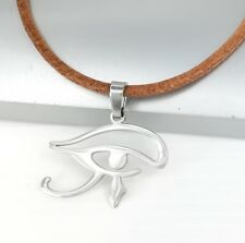 Udjat Pendant Brown Leather Tribal Necklace Silver Egypt Eye of Horus Wadjet