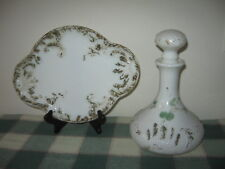 3pc Antique Victorian Milk Glass Decanter and Serving Tray 11.5x8.5 Marked 30