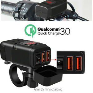 12-24V Motorcycle Phone  Dual USB QC3.0 Fast Charger +Voltmeter+On/Off Switch