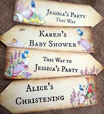 Set of 4 Personalised Beatrix Potter Jemima Puddle-Duck Party Decoration Arrows