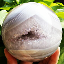 """BEST!!! 1051g  92mm Natural agate crystal ball hole """"smile"""" D4"""