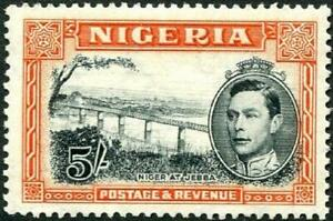 Nigeria 1938-51 KGVI  5/- Black & Orange   Perf.13.5   SG.59a Mint (Hinged)