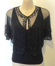 BNWT Hand Beaded Shrug Cape Wrap Stole Bolero Black Beads & Sequins One Size