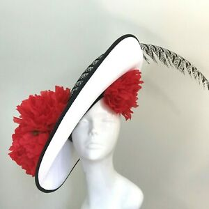 Exclusive White Designer Millinery by Hat Couture Wedding Bridal Race Ascot Hat