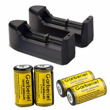 4PCS CR123A 1800mAh Rechargeable Batteries 16340 Battery 3.7V Li-ion + 2*Charger