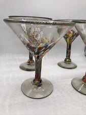 hand blown mexican glassware martini glasses multicolor