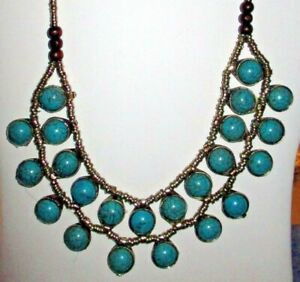 """Necklace Turquoise Double Row Circle Afghan Kuchi Tribal Alpaca Silver 22"""""""