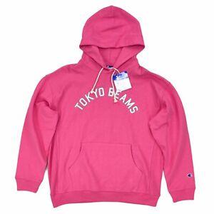New Champion x Tokyo Beams Reverse Weave Long Sleeve Hoodie Pink White