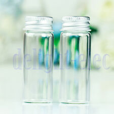 10Pcs Small Tiny Empty Clear Bottles Glass Vials 22x60mm With Screw Lid 14ml DE