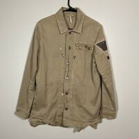 $168 Free People Embellished Military Shirt Jacket Sand Women's Size Small