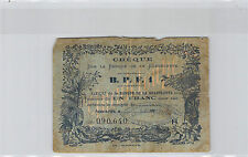 GUADELOUPE CHEQUE 1 FRANCS 190- N° 090640 PICK 20C RARE