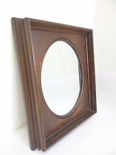 Antique Pocket Natural Wood Color Oval Rectangular Wall Hanging Vanity Mirror