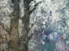 """ORIGINAL painting 16""""x""""20 abstract textured purple pallet knife trees Art"""