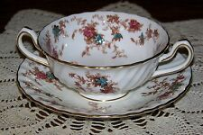 Minton China England - Ancestral - Cream Soup Cup & Saucer (Exceptional Cond.)
