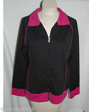 Womens Lightweight Zippered Jacket BLACK PINK Topstitched Side POCKETS L 12-14