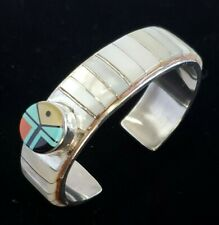 Native American Zuni Mother of Pearl Inlaid Sunface Sterling Silver Cuff