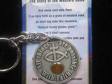 """Mustard Seed Pewter Key Chain 1-1/4""""  with the Story of the Mustard Seed Card"""