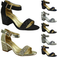 New Womens Ladies Ankle Strap Low Glitter Heel Shoes Buckle Party Sandals Size