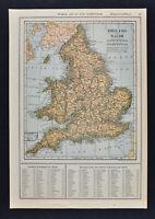 1917 Poates Map - England Wales - London Liverpool Bristol Cardiff Birmingham UK