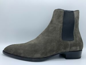 $1,000 Saint Laurent Bronze Suede Chelsea Boots size US 15, Made in Italy