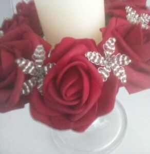 Red  rose flower & silver bead candle ring Wedding / Christmas Centrepiece