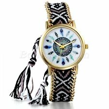 Women National Indian Adjustable Weaved Bracelet Cuff Quartz Wrist Watch Watches