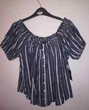 NEW - FOREVER 21 WOVEN CROP TOP OFF SHOULDER GREY STRIPED MEDIUM