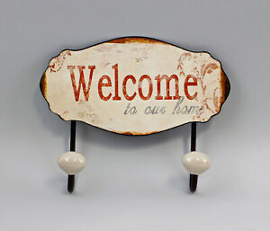 9973019 Metall Wand-Haken-Leiste Shabby-Chic Vintage Welcome 18x6x23cm