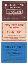3 dif Duquesne Brewing Keg Beer labels Irtp's Pittsburgh Pa