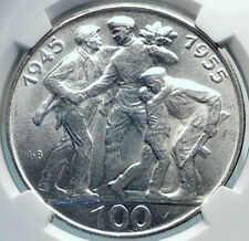 1955 Czechoslovakia Czech Republic Silver Coin Liberation frm Germany Ngc i81894