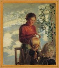 Two little girls being taught how to sew Anna Ancher Handarbeit Kind B A2 00531