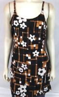 Bali Girl black Brown Floral dress Beach Cover Tunic Top Women's Sz Medium Large