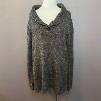 Liz Claiborne Size XL Pullover Sweater Cotton Blend Dark Gray Colorful Speckles