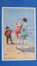 Vintage Comic Postcard 1907 Concertina JAZZ Player Ragtime Music Dance Bathing