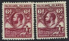 FALKLAND ISLANDS 1929 KGV WHALE AND PENGUIN 6D - BOTH SHADES