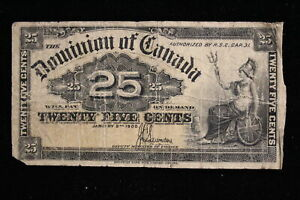 1900 Dominion of Canada. 25 Cents. Shinplaster. Saunders. (#1)