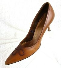 Vintage Mister Chic Ladies' Size 8 Aa Brown Leather High Heel Shoes