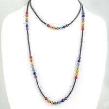 "48"" Long  7 Chakra Natural Gemstone Beaded Sweater Necklace, Boho, Tribal"