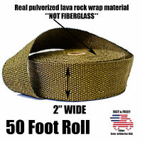 """THERMAL ZERO LAVA EXHAUST WRAP HEADER PIPE HEAT INSULATION TAPE ROLL 2"""" x 50 FT"""