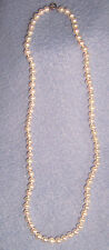"Vtg faux PEARL-y 17"" bead NECKLACE very nice single strand white"