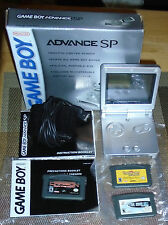 BOXED NES Game Boy Advance SP Platinum Silver Handheld w/Manuals,Charger, TESTED