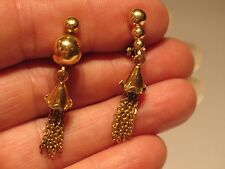 Vintage 18K Solid Yellow Gold Vicenza Italy Tassel Dangle Clip Earrings 1 1/2 In