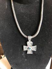 Solid 925 Sterling Silver Maltese Cross Pendant W/Blue Gemstone & Necklace!