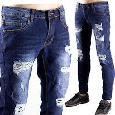 Pantaloni Jeans Uomo Elasticizzati Strappati Toppe Sfilacciato Denim Regular
